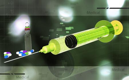 Digital illustration   of syringe in colour background Banco de Imagens