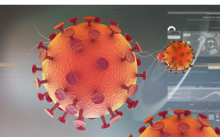 hiv: Digital illustration of  HIV Virus  in colour  background