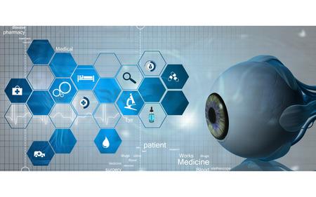 Digital illustration of  eye   in  colour  background Banco de Imagens - 59996585
