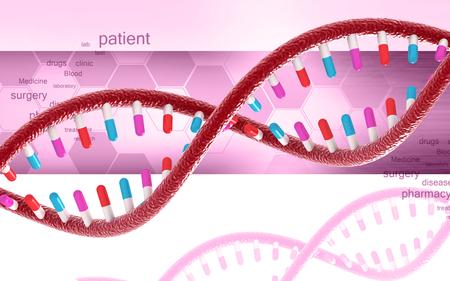 Digital illustration DNA structure in colour background Banco de Imagens - 59996589