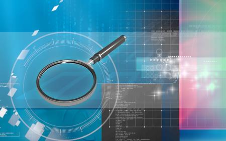 Digital illustration of Magnifying lens   in colour background Banco de Imagens