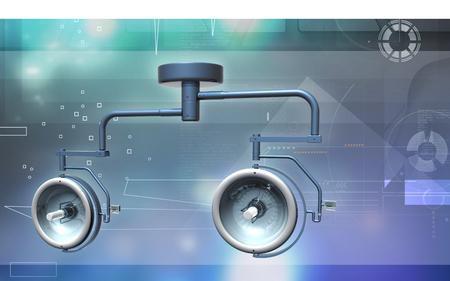 Digital illustration of Surgical lamp in color background