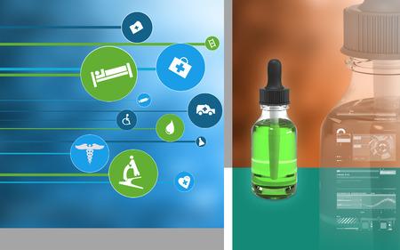 Digital illustration of  medicine  in colour  background