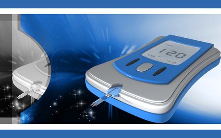 Digital illustration of Blood glucose meter in   colour background Banco de Imagens