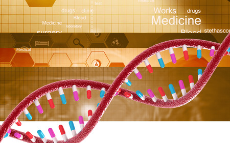 Digital illustration DNA structure in colour background Banco de Imagens - 62967655