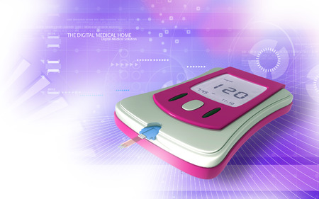 glucose: Digital illustration of Blood glucose meter in   colour background Stock Photo