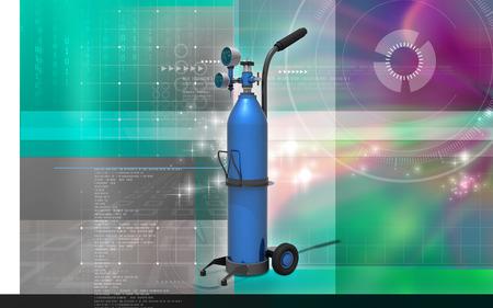 Digital illustration of oxygen cylinder in colour background Banco de Imagens - 63573542