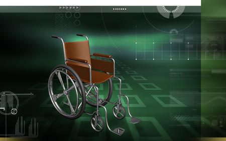 Digital Illustration of  wheel chair  in colour background Banco de Imagens