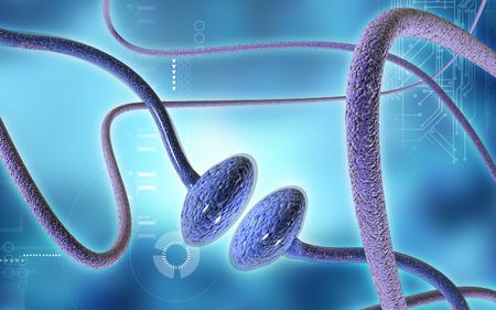 Digital illustration of synapse in colour background Banco de Imagens