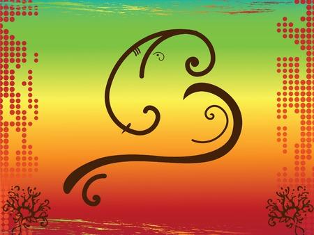 ganesh: Hindoe god Ganesh in abstracte vorm over halftoonraster achtergrond