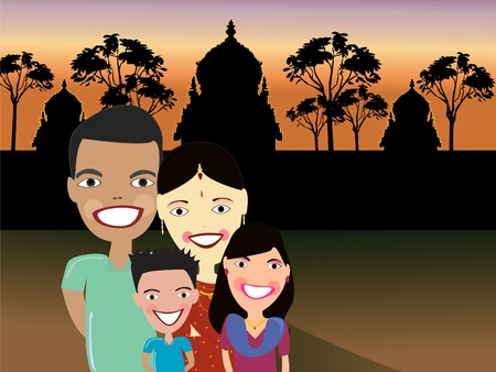 South asian family with Hindu temple background Stock Vector - 3284797