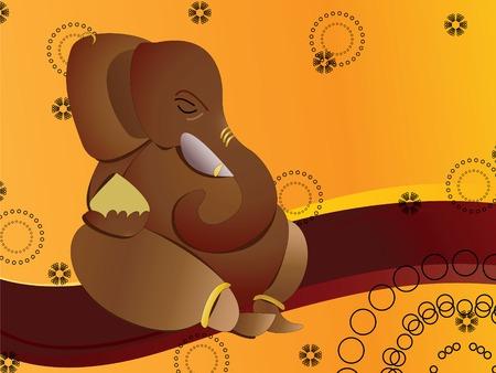hindu god: Dios hind� Ganesha en resumen de antecedentes  Vectores