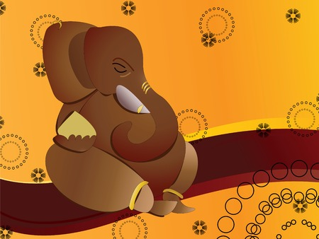 Hindu god ganesha on abstract background Vector