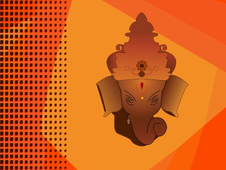 hindu god: Dios hind� Ganesh sobre fondo naranja de medias