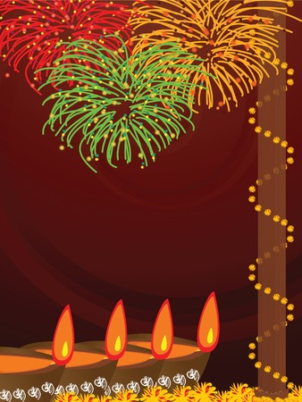 rangoli: illustration of arranged earthen lamps with fireworks background during the hindu festival Diwali