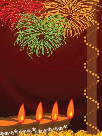earthen: illustrazione dei disposti di terra luci con fuochi d'artificio di sfondo durante il festival ind� Diwali  Vettoriali