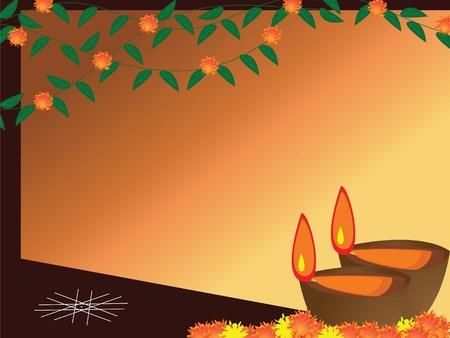 vector lamp: illurstration of arranged earthen lamps during the hindu festival diwali Illustration