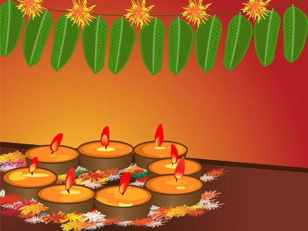 illustration of arranged earthen lamps during the hindu festival diwali Illustration