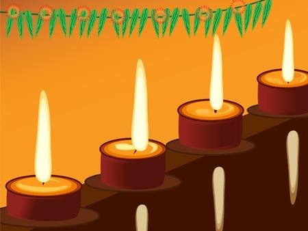 illustration of arranged earthen lamps during the hindu festival diwali Vector