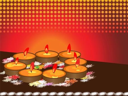 earthen: illustrazione delle lampade a terra organizzate durante il festival ind� Diwali  Vettoriali