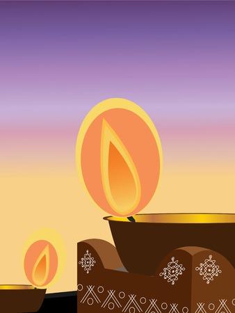 illustration of an earthen lamp lit during the Hindu festival diwali Vector