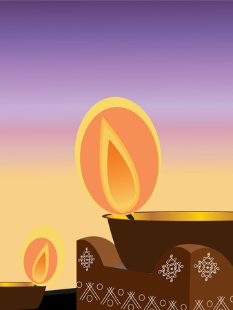 offering: illustration of an earthen lamp lit during the Hindu festival diwali