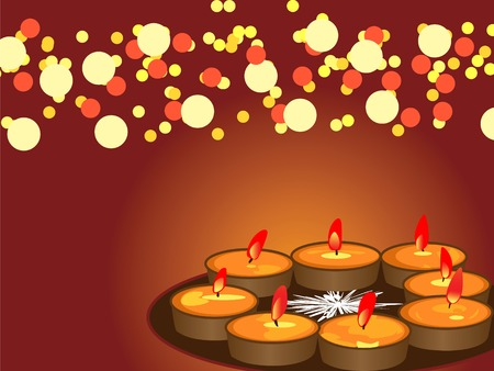 : illustration of arranged earthen lamps during the hindu festival diwali Illustration