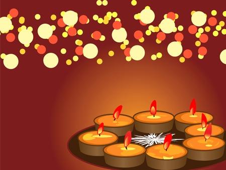 : illustration of arranged earthen lamps during the hindu festival diwali Vector