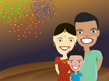indian happy family: illustration of happy Indian family with fireworks on background