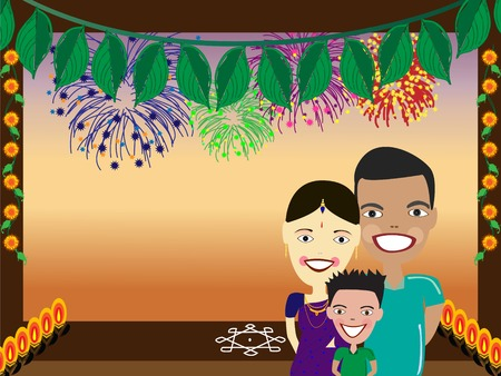illustration of happy Indian family with fireworks on background