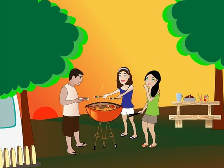 coals: Summer barbeque backyard scene Illustration