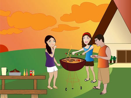Summer barbeque backyard scene Illustration