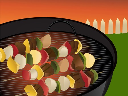 Illustration of backyard bbq scene, vegetables and meat on skewer Vector