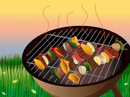 charcoal grill: Illustration of backyard bbq scene, vegetables and meat on skewer Illustration
