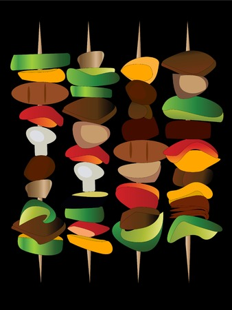 grilled vegetables: grilled vegetables and meat on skewers Illustration