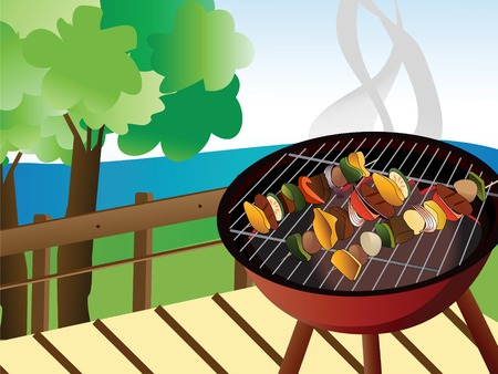 Illustration of backyard bbq scene Stock Vector - 3473170