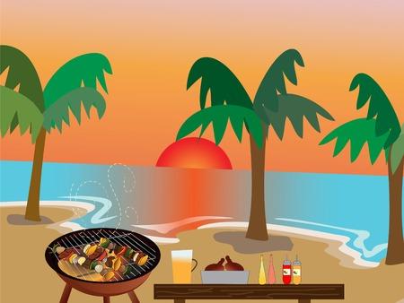 playa caricatura: Ilustraci�n de la playa de barbacoa escena  Vectores