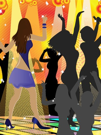 illustration of young women on the dance floor Stock Vector - 3546375