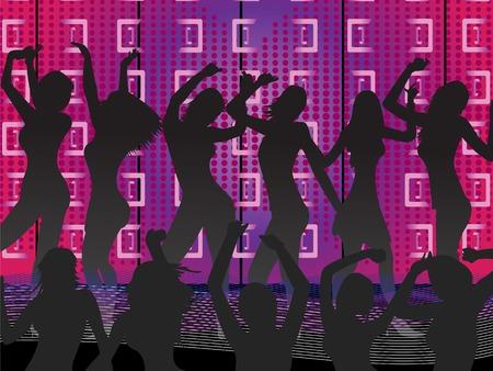 ilustración de las mujeres jóvenes en la pista de baile-Ladies Night