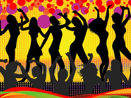 nude lesbian: illustration of young woman on the dance floor- summer fun Illustration