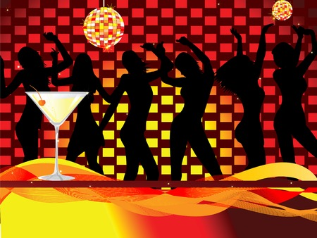 Ladies night out-disco scene Vector