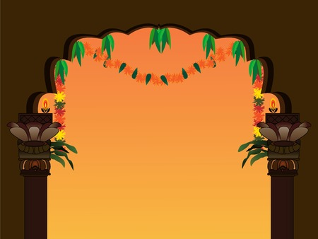 mangoes: decorated templehome entrance
