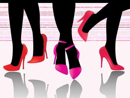 set of glossy high heels Vector