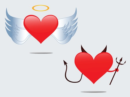 good and bad: Love angel and devil Illustration