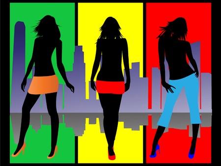 shopping girls at city Vector