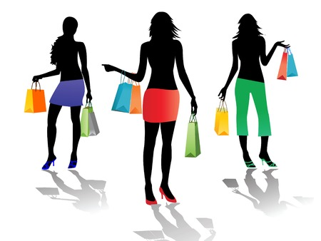 shopping girls isolated Vector