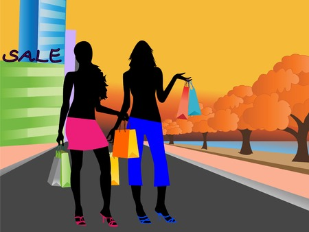Girls shopping at city malls Vector