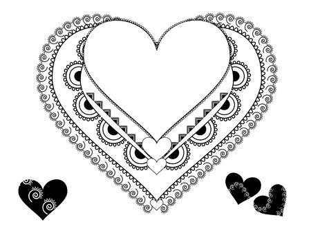 Indian art inspired Heart ornament Vector