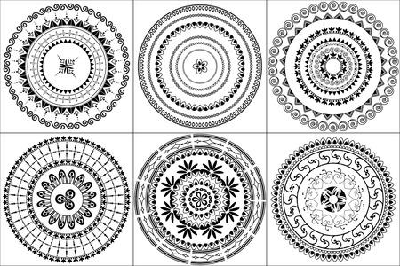 motive: Indische Kunst inspiriert Henna Fliesen Illustration