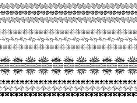 Indian art inspired Henna borders Stock Vector - 4269025